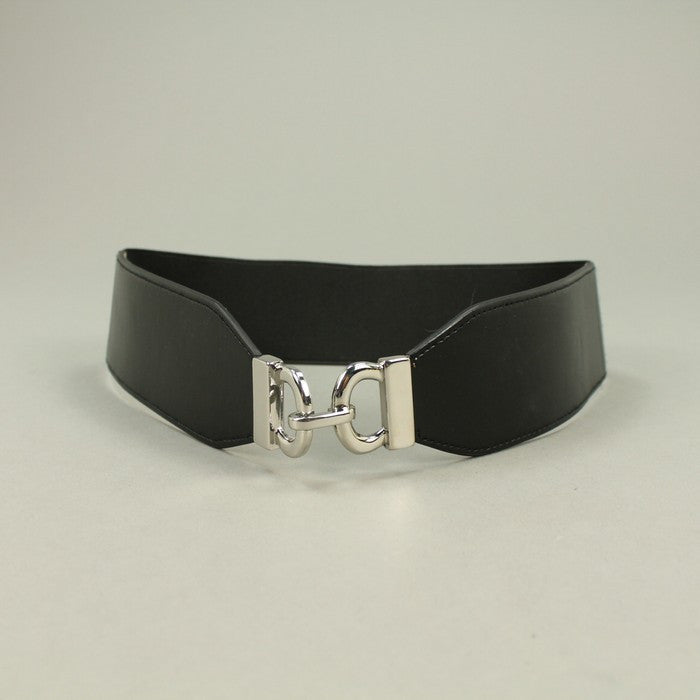 Style&co Solid Black Stretch Waist Wide Buckle Size M/L