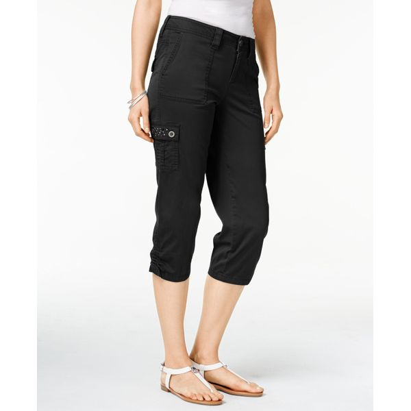 Style Co Petite Embellished Capri Cargo Pants Deep Black 6P