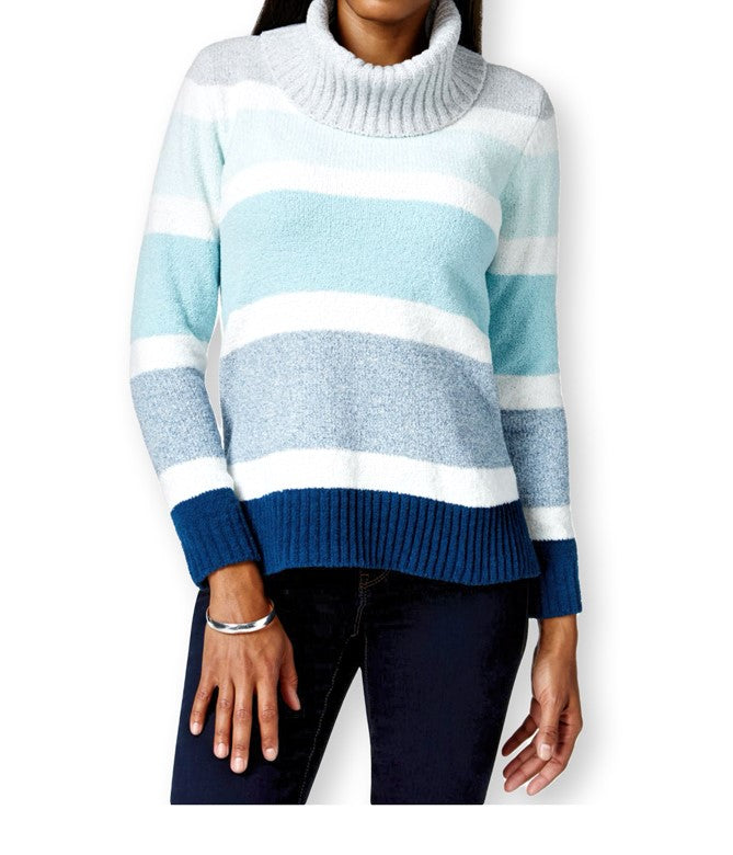 Style & Co. Womens Ribbed Knit Striped Turtleneck Sweater XLarge