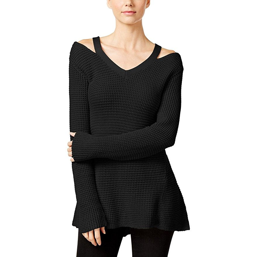 Style & Co Petite High-Low Cutout Sweater Deep Black