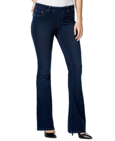 Style & Co. Knit Denim Pull-On Flared-Leg Jeans Rinse Wash Size M
