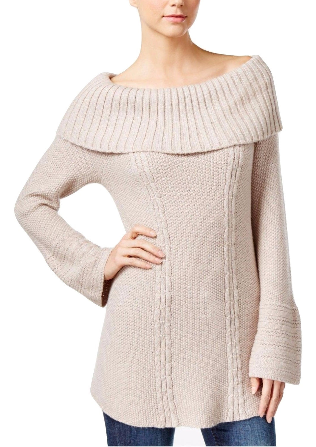 Style Co Petite Foldover Off-The-Shoulder Cable-Knit Sweater Oatmeal Heather