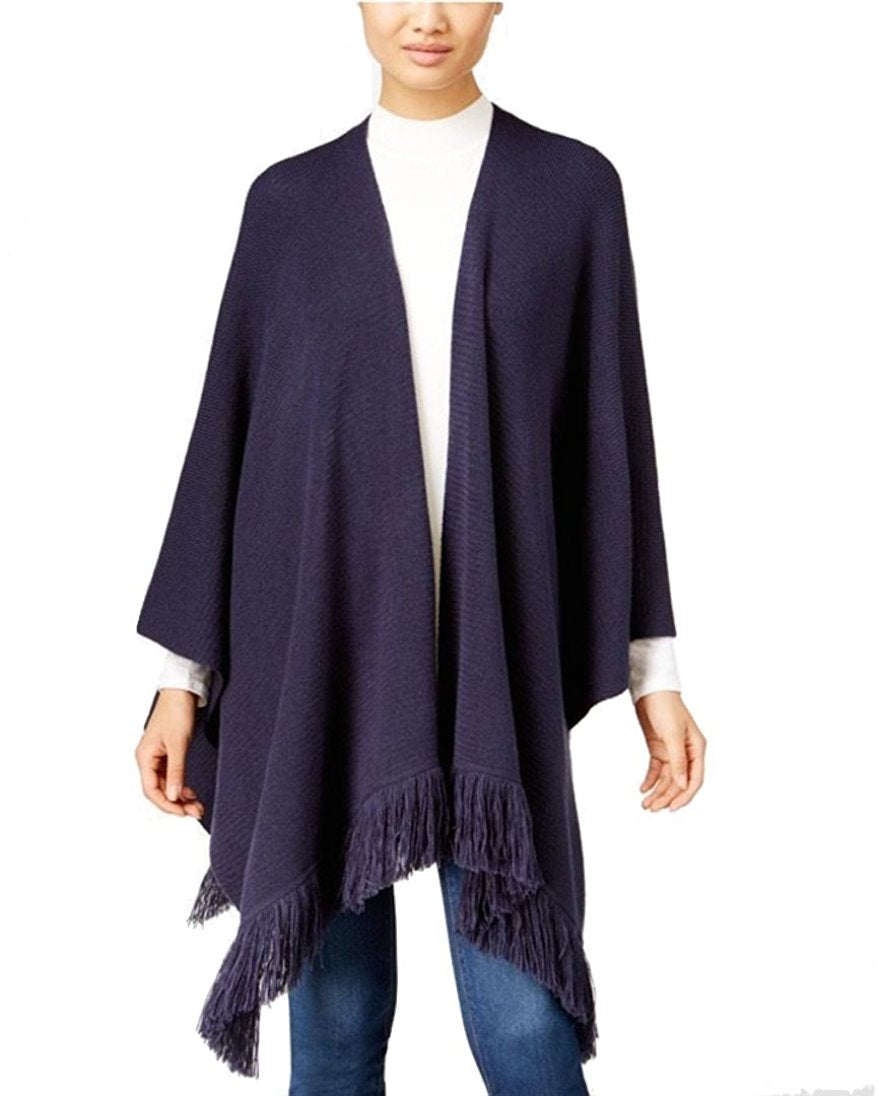 Style & Co Petite Poncho-Sleeve Fringe Cardigan Industrial Blue