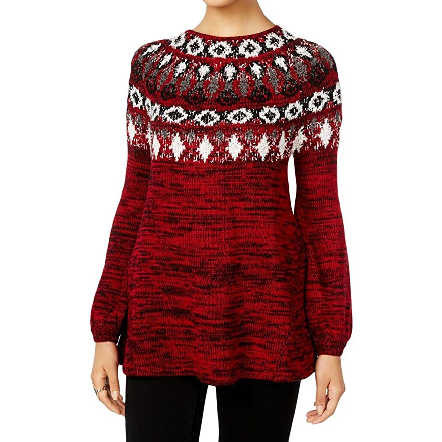 Style & Co Petite Fair Isle Marled Sweater New Red Amore Combo