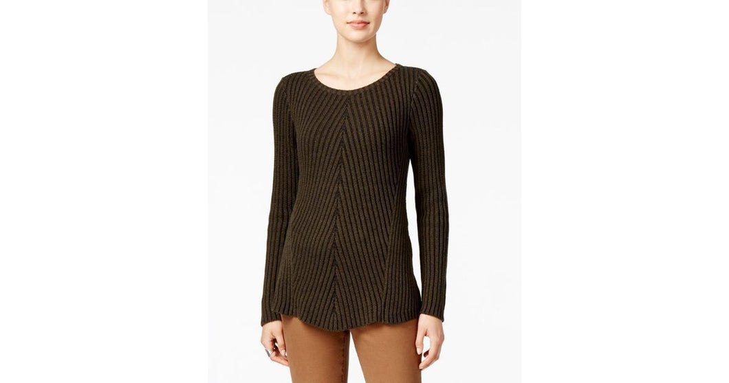Style&Co Petite Ribbed Crew-Neck Sweater Dark Ivy PS