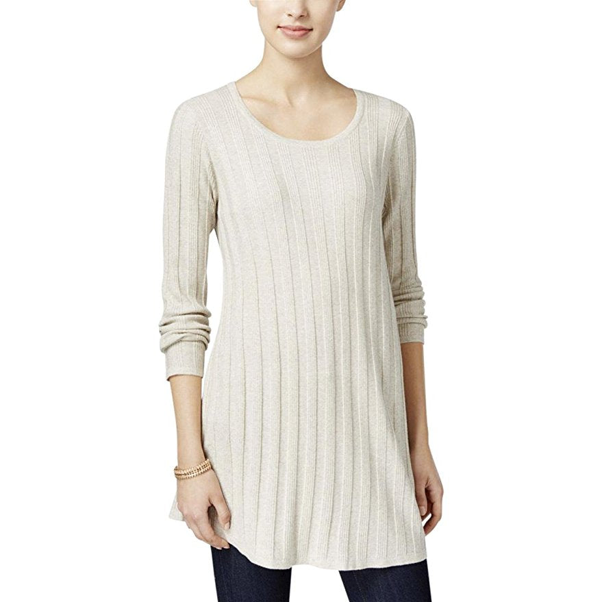 Style & Co Petite Ribbed Sweater Tunic Warm Ivory PS