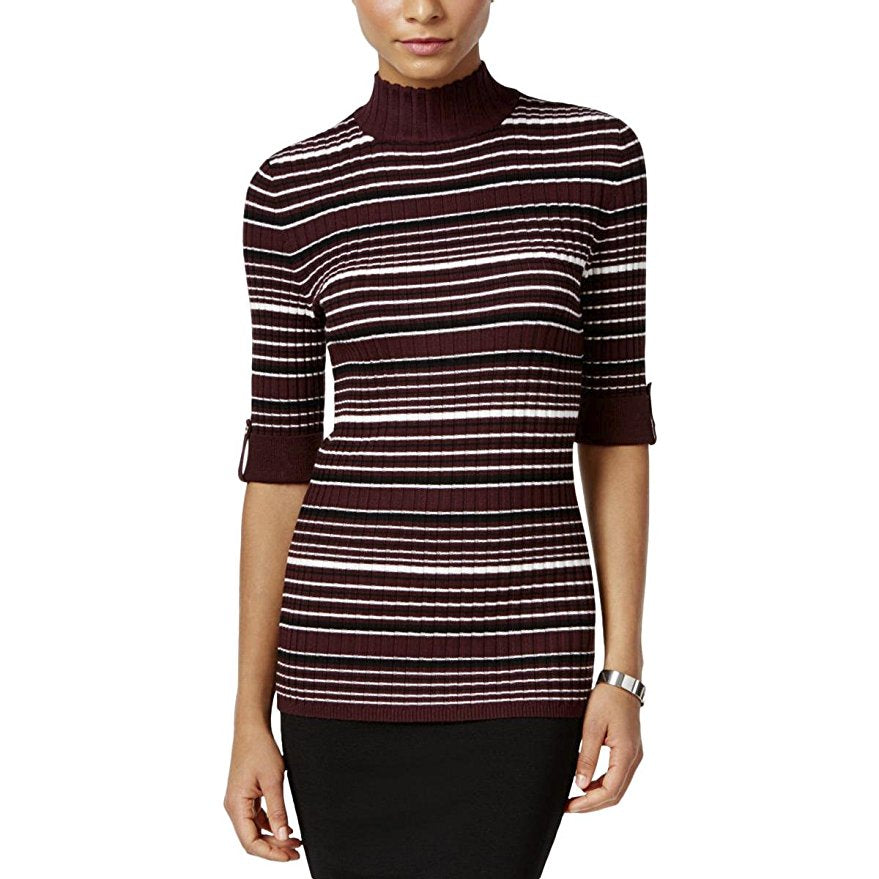 Style & Co Petite Striped Mock-Neck Sweater Dried Plum Combo PM