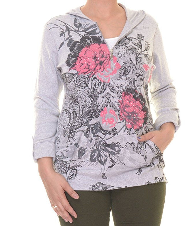 Style & Co. Women's Floral Layered Look Sweatshirt Size XLarge