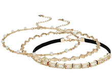 Steve Madden Womens 3 Piece Velvet Cast Stone/Chain Chokers Necklace