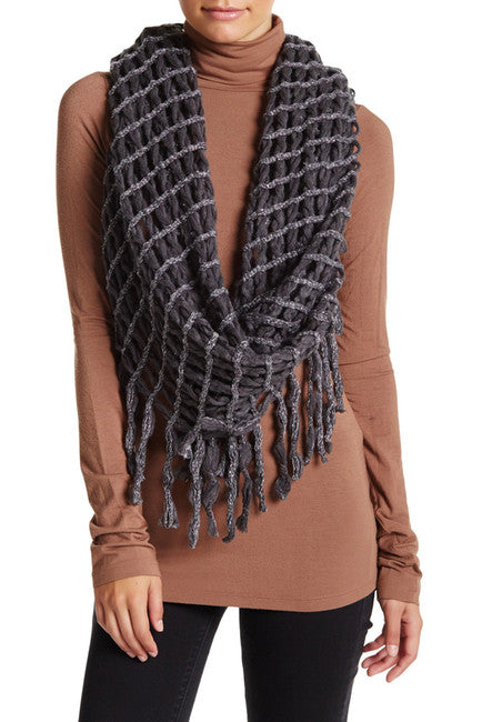Steve Madden Lurex Rag-A-Muffin Infinity Scarf Charcoal