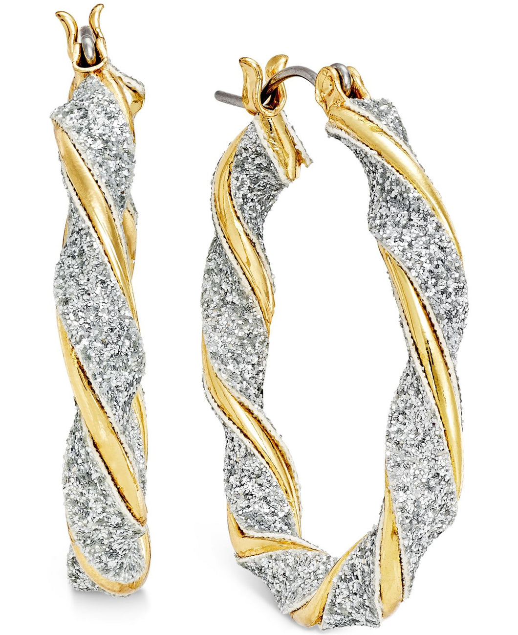 Style & Co. Glitter Twist Hoop Earrings