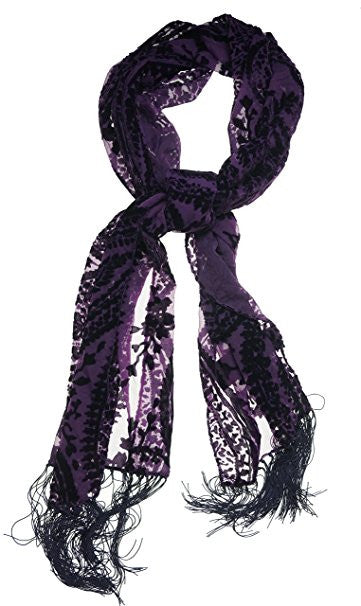 Style & Co Women's Paisley Velvet Evening Wrap Amethyst