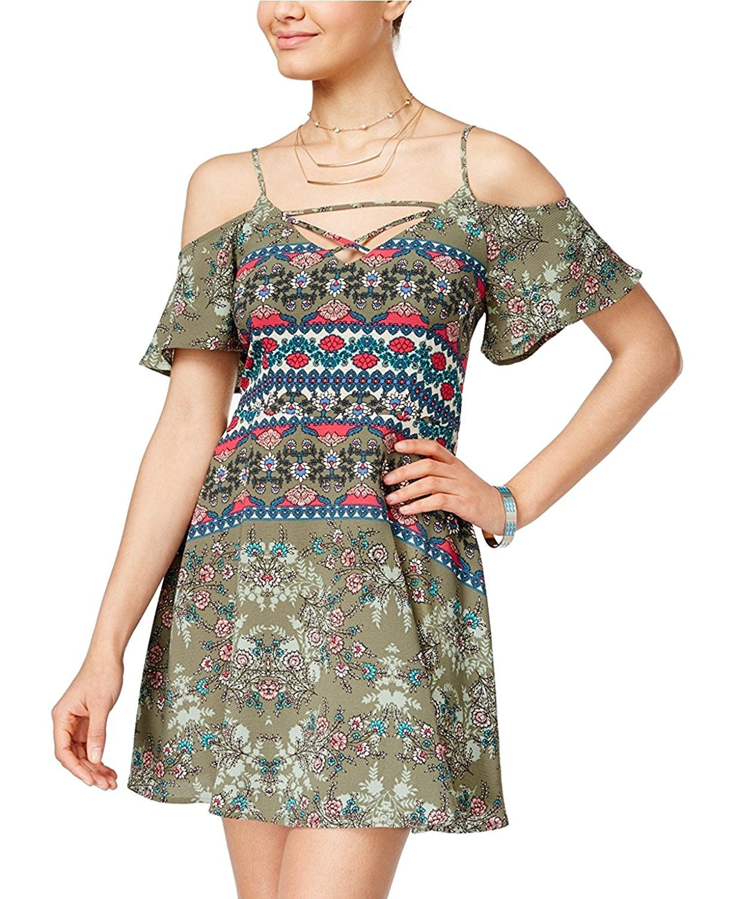 Teeze Me Juniors Cold-Shoulder Fit and Flare Dress Green Multi