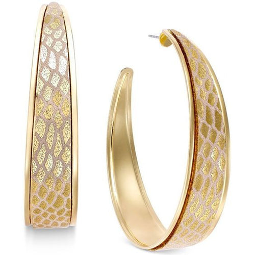 Thalia Sodi Gold Tone Metallic Snake Print Hoop Earrings