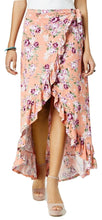 Ultra Flirt Juniors Ruffled High-Low Maxi Skirt Pretty Rose Bloom L