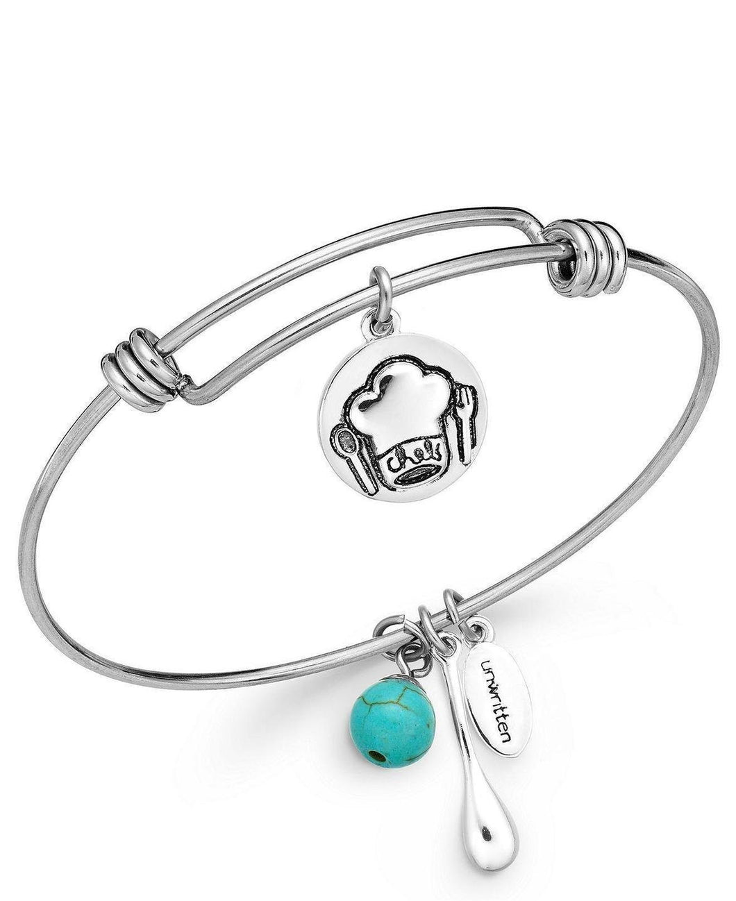 Unwritten Chef Charm and Manufactured Turquoise (8mm) Bangle Bracelet