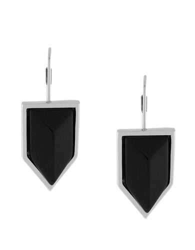 Vince Camuto Black Semiprecious Onyx Chevron Stone Earrings