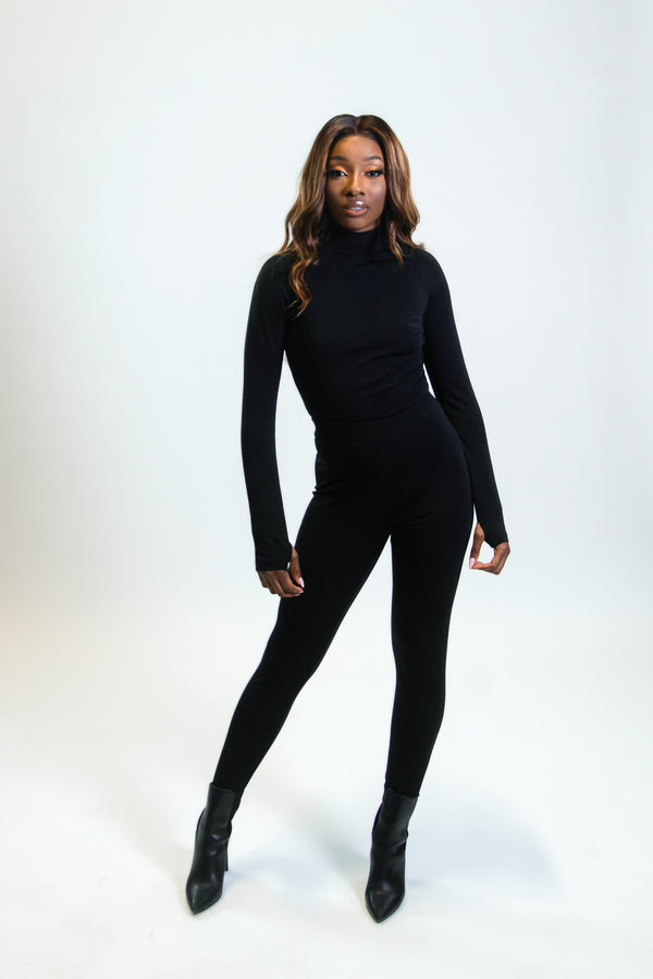 GENNY CLASSIC BODYSUIT SET- BLACK  (ESTIMATED SHIP DATE: February 28)