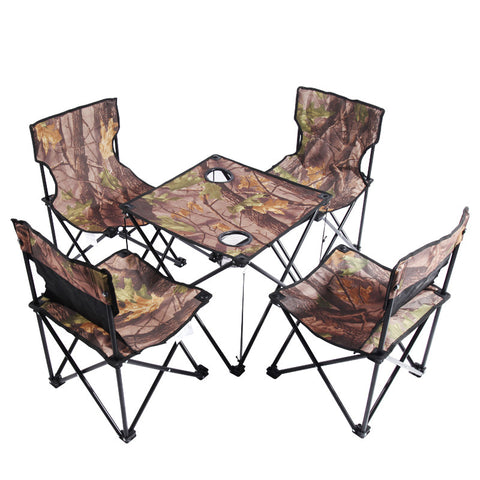 Kansoon® Camouflage Ultra Portable Folding Camp Chairs Table Set (4 Chairs + 1 Table)