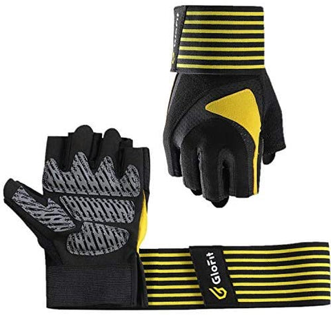 Ventilated Weight Lifting Gloves with Wrist Wrap Support