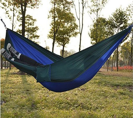 Kansoon Double Parachute Camping Hammock (Blue/Green)