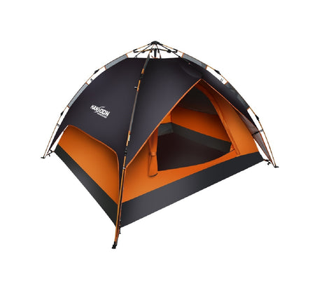 Kansoon Automatic Instant Dome Tent, 3-4 Person Camping Cabin with Rain Flyer (Black, Neo Orange)