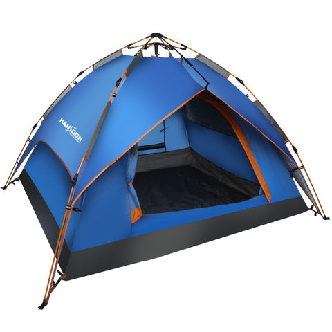 Kansoon Automatic Instant Dome Tent, 3-4 Person Camping Cabin with Rain Flyer (Blue)