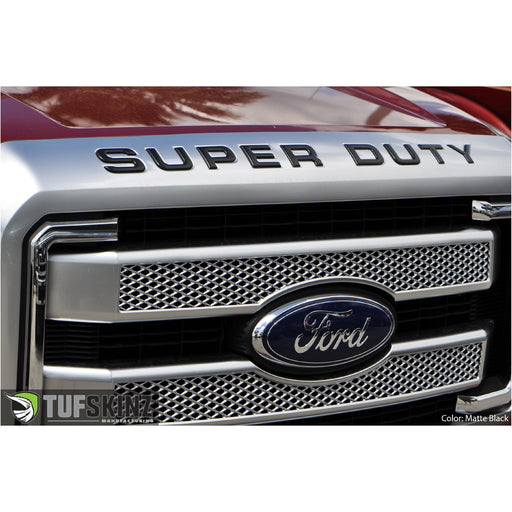 """SUPERDUTY"" Hood Letter Inserts Fits 2008-2016 Ford Super Duty Matte Black"
