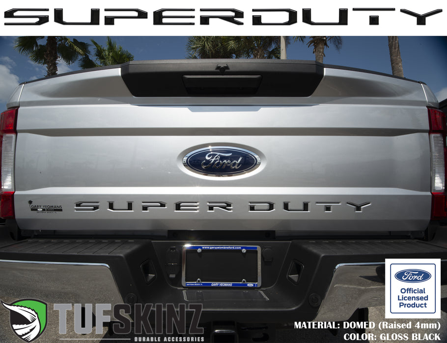 """SUPER DUTY"" Tailgate Letter Inserts Fits 2017-2019 Ford Super Duty Gloss Black"