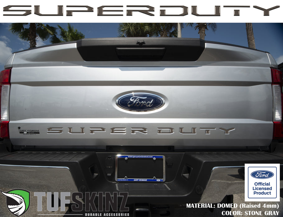 """SUPER DUTY"" Tailgate Letter Inserts Fits 2017-2019 Ford Super Duty Stone Gray"