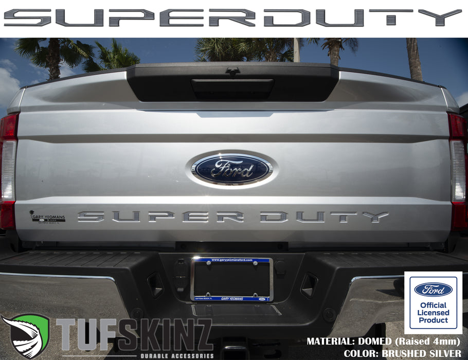 """SUPER DUTY"" Tailgate Letter Inserts Fits 2017-2019 Ford Super Duty Brushed Silver"