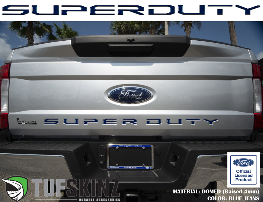 """SUPER DUTY"" Tailgate Letter Inserts Fits 2017-2019 Ford Super Duty Blue Jeans Metallic"