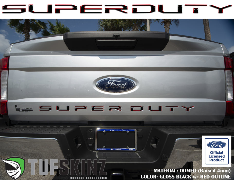 """SUPER DUTY"" Tailgate Letter Inserts Fits 2017-2019 Ford Super Duty Gloss Black/Red Outline"