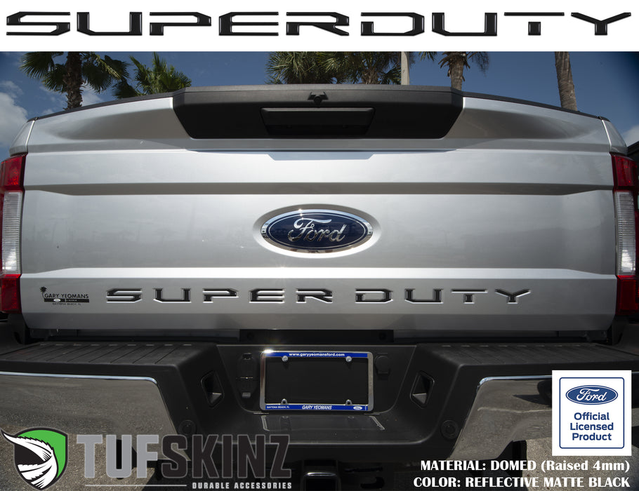 """SUPER DUTY"" Tailgate Letter Inserts Fits 2017-2019 Ford Super Duty Reflective Black"