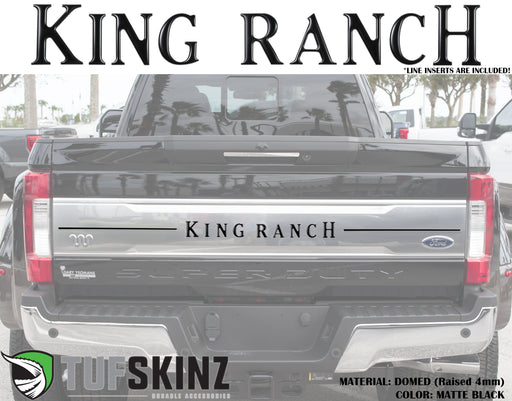 """KING RANCH"" w/Strips Tailgate Letter Inserts Fits 2017-2019 Ford Super Duty Matte Black"