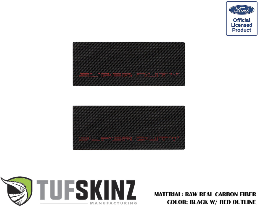 Door Sill(Rear Doors) Accent Trim Fits 2017-2020 Ford Super Duty (Super Duty)Black w/Red Outline Logo