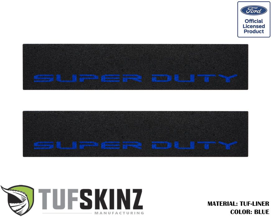 TUF-LINER Door Protection(Front Doors) Accent Trim Fits 2017-2020 Ford Super Duty Black Textured with Blue Logo