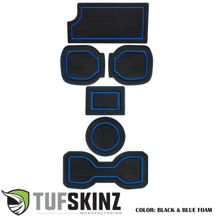 FOAM Cup Holder Inserts(Include QI Insert/Automatic) Inserts Fits 2016-2020 Toyota Tacoma Black/Blue