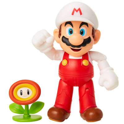 Nintendo Super Mario 4-inch Figures Wave 18: FIRE MARIO with FIRE FLOWER