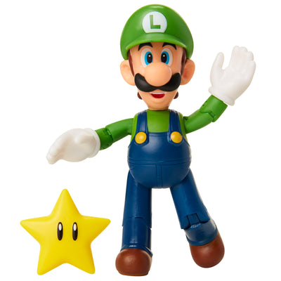 Nintendo Super Mario 4-inch Figures Wave 18: LUIGI with SUPER STAR