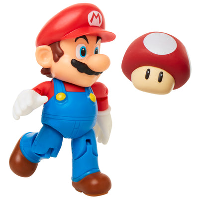 "Super Mario 4"" Mario with Super Mushroom Action Figure"