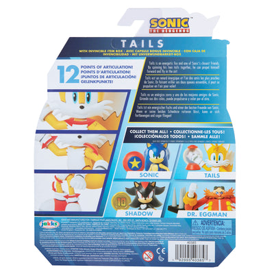 Sonic The Hedgehog 4 inch Tails Action Figure with Invincible Item Box Accessory