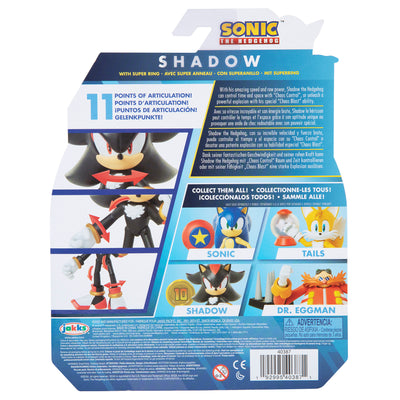 Sonic The Hedgehog 4 inch Shadow with Super Ring Action Figure