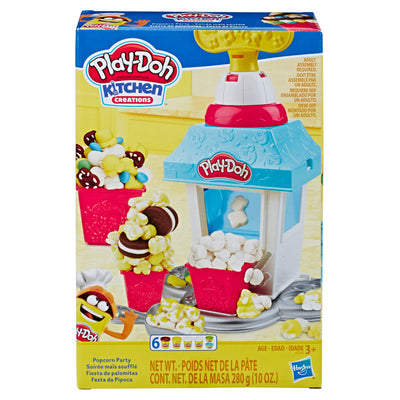 play doh popcorn maker; toy popcorn machine; playdough; non-toxic play dough; modeling clay; playdoh playsets; toys for 3 year olds; gifts for 4 year old; 3 yo birthday gifts; play food popcorn; playdoh kitchen creations;