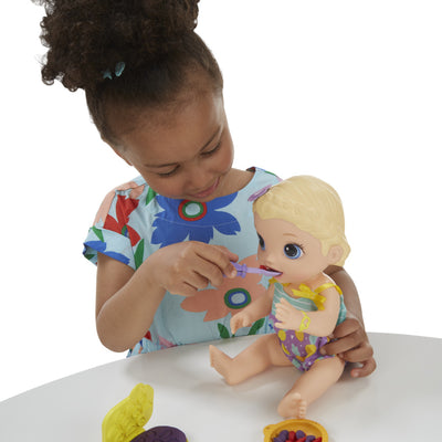 Baby Alive Super Snacks Snackin' Lily Baby: Blonde Baby Doll That Eats, with Reusable Baby Alive Doll Food, Spoon and 3 Accessories