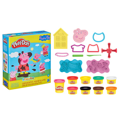 Play-Doh Peppa Pig Stylin Set with 9 Non-Toxic Modeling Compound Cans and 11 Accessories