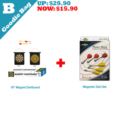 Goodie Bag B, 18-inch Magnetic Dartboard + 1 pack Magnetic Darts