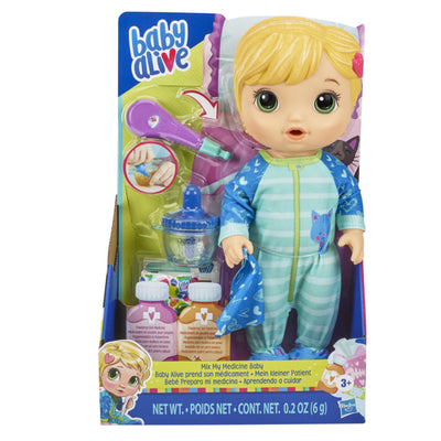 Baby Alive Mix My Medicine Baby Doll, Kitty-Cat Pajamas, Drinks and Wets, Doctor Accessories