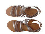 Brown Metallic Leather Strap Sandals - RocketLuv