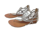 Silver Leather Strap Sandals - RocketLuv